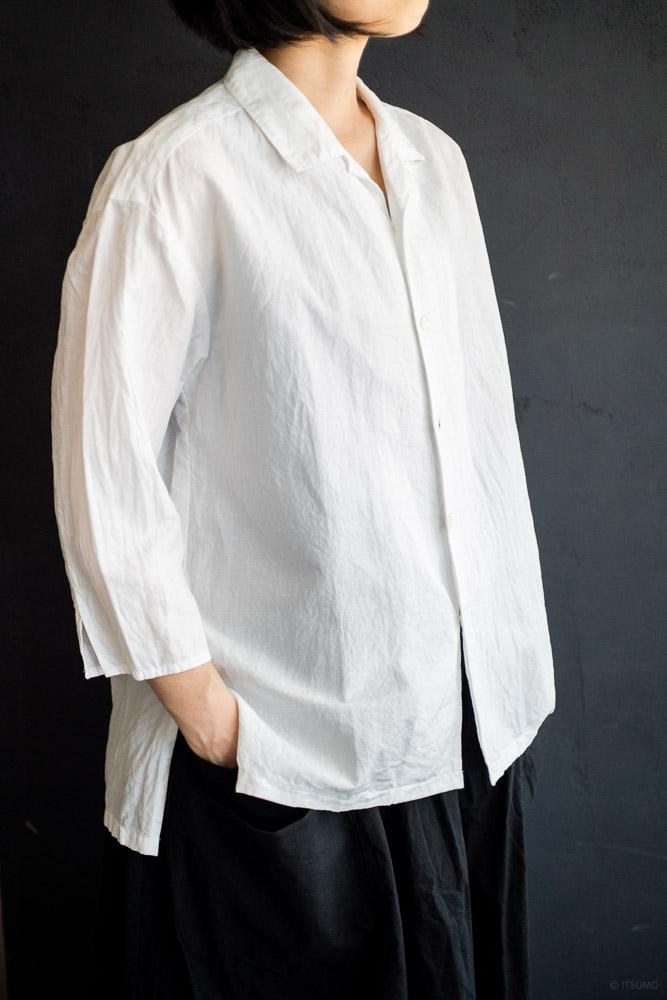 homspun-women's cotton linen open collar shirt with 3-4 sleeve-white-3