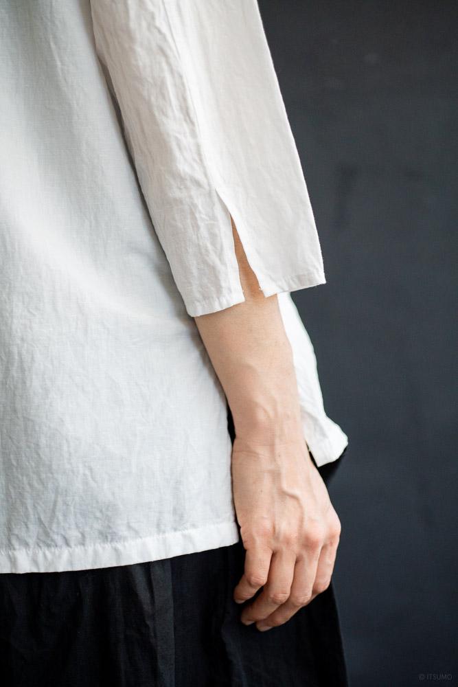 homspun-women's cotton linen open collar shirt with 3-4 sleeve-white-5