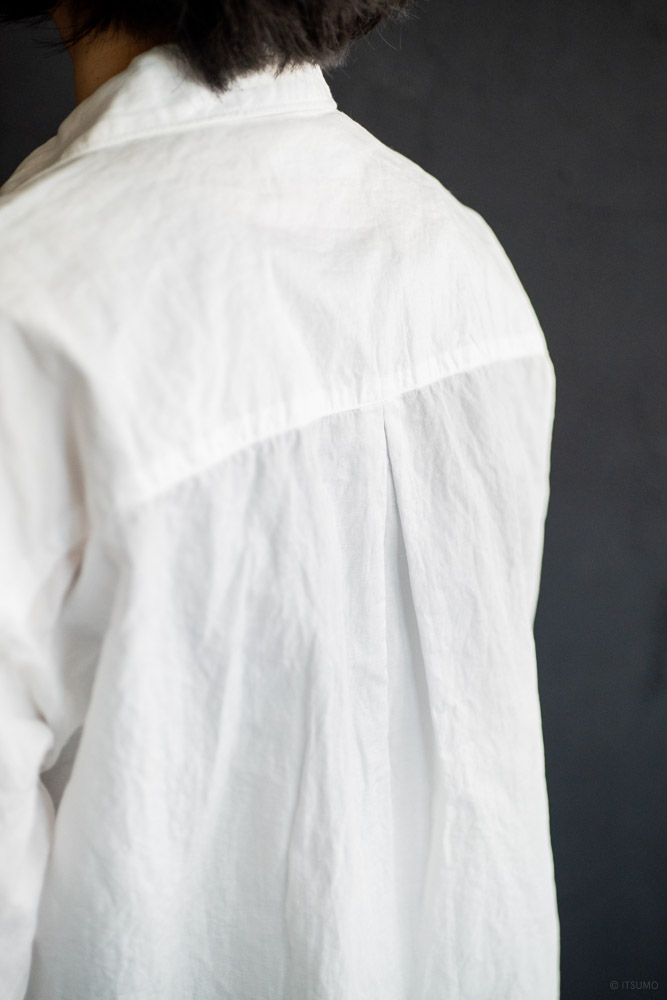 homspun-women's cotton linen open collar shirt with 3-4 sleeve-white-6