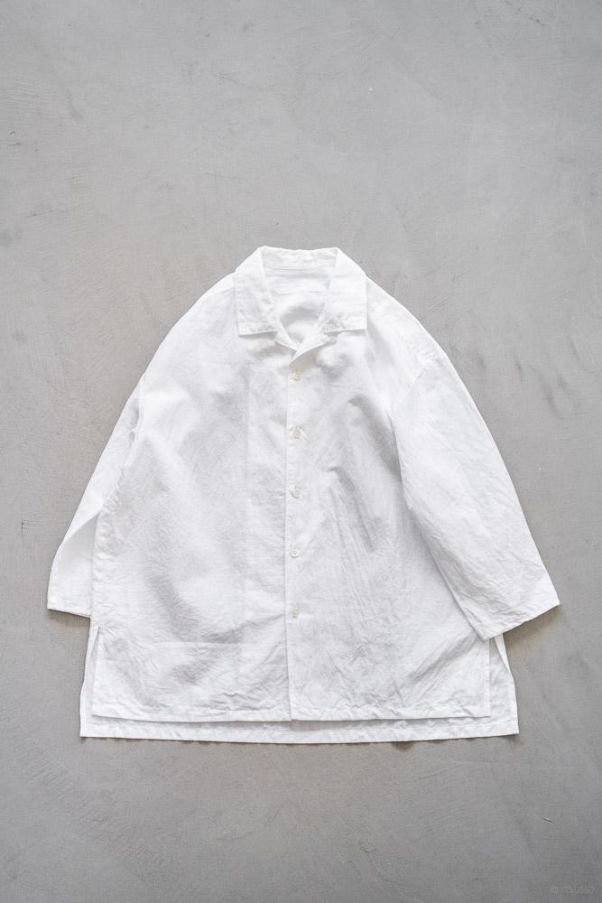 homspun-women's cotton linen open collar shirt with 3-4 sleeve-white-9