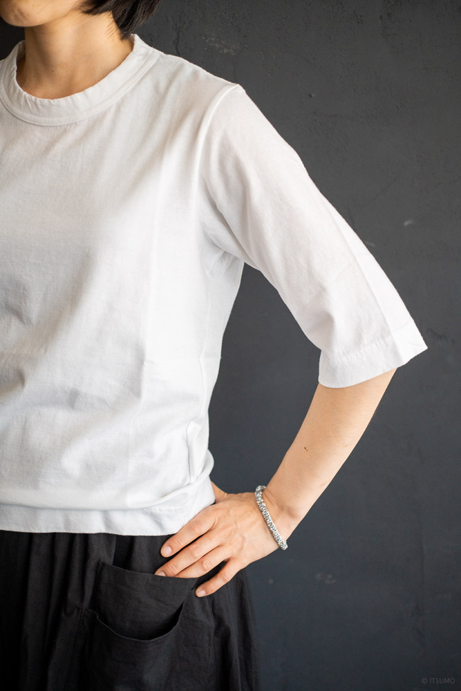 homspun-women's cotton half sleeve t-shirt-white-4