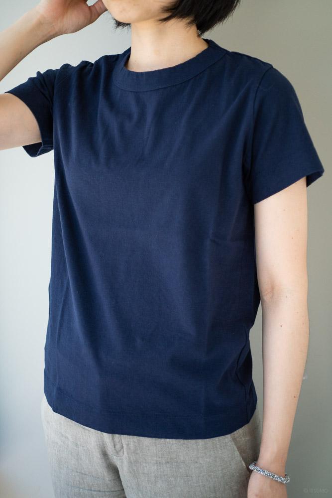 homspun-women's cotton short sleeve t-shirt-navy-1