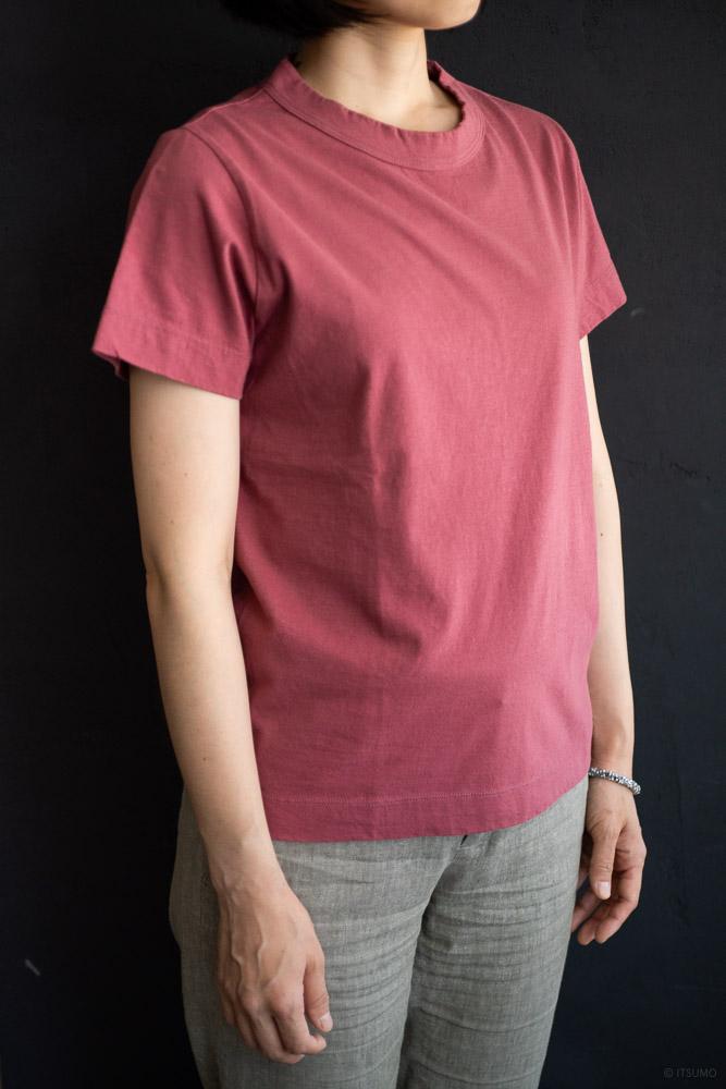 homspun-women's cotton short sleeve t-shirt-rasberry-3