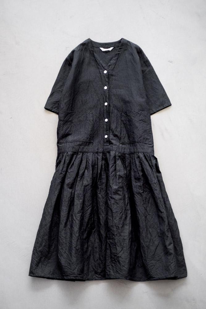 homspun-women's linen chambray wide dress-black-9