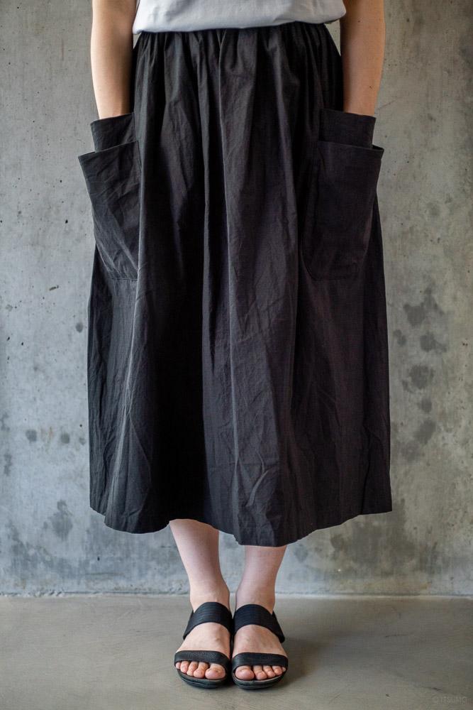 homspun-women's cotton double pocket long skirt-black-2