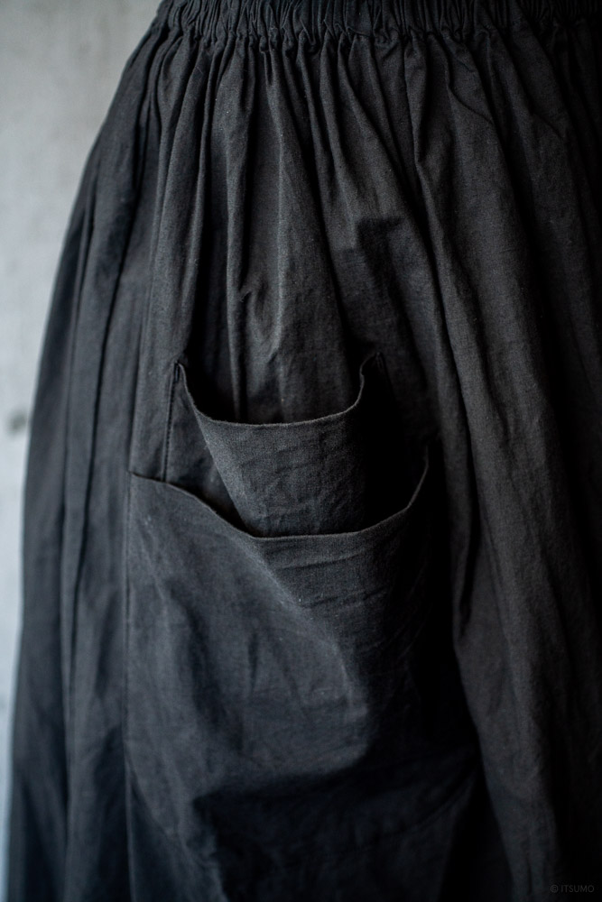 homspun-women's cotton double pocket long skirt-black-7