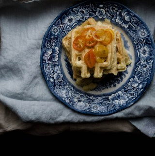 FLUFFY VANILLA YOGURT WAFFLES W/ CANDIED CITRUS