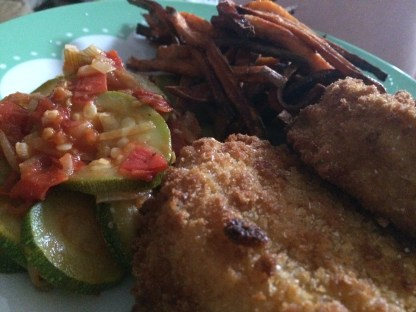 Haddock fishcakes, courgette and tomato and sweet potato fries