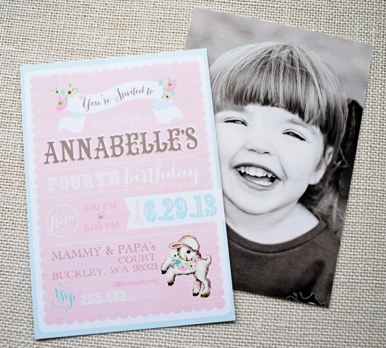 Little Lamb Birthday Party Invitation by Itsy Belle