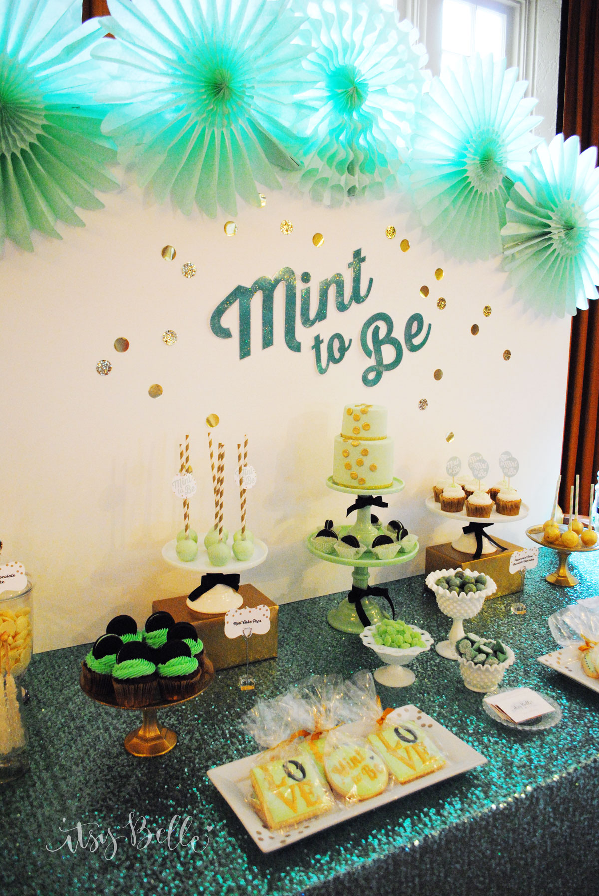 Mint to Be Bridal Shower Dessert Table  Itsy Belle