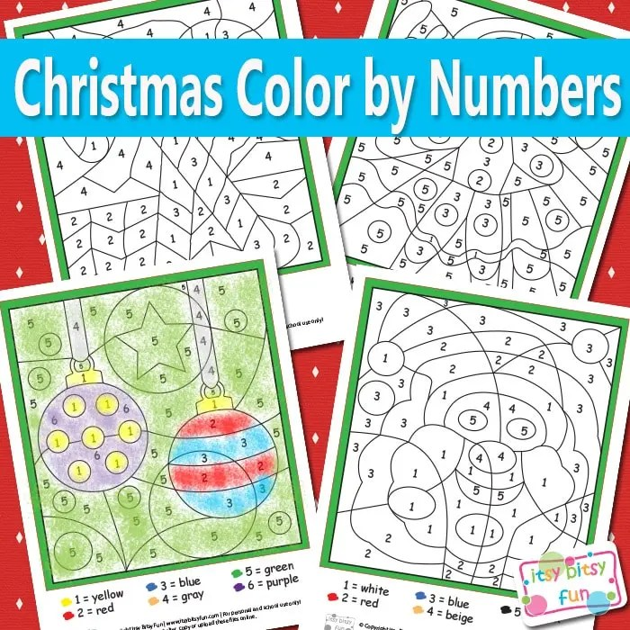 Christmas Color By Numbers Worksheets Itsybitsyfun Com