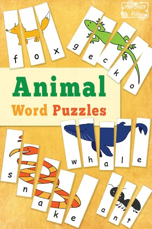 Animal Word Puzzles Itsy Bitsy Fun