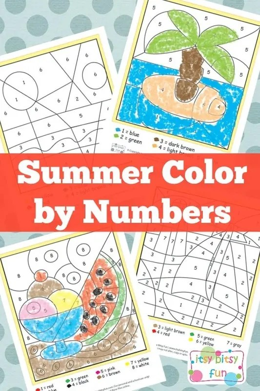 Summer Color By Number Worksheets  Itsy Bitsy Fun