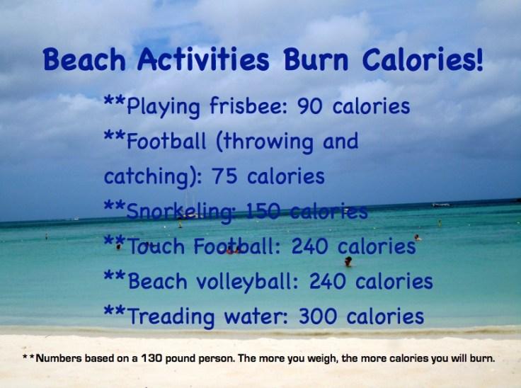 beach activities burn calories