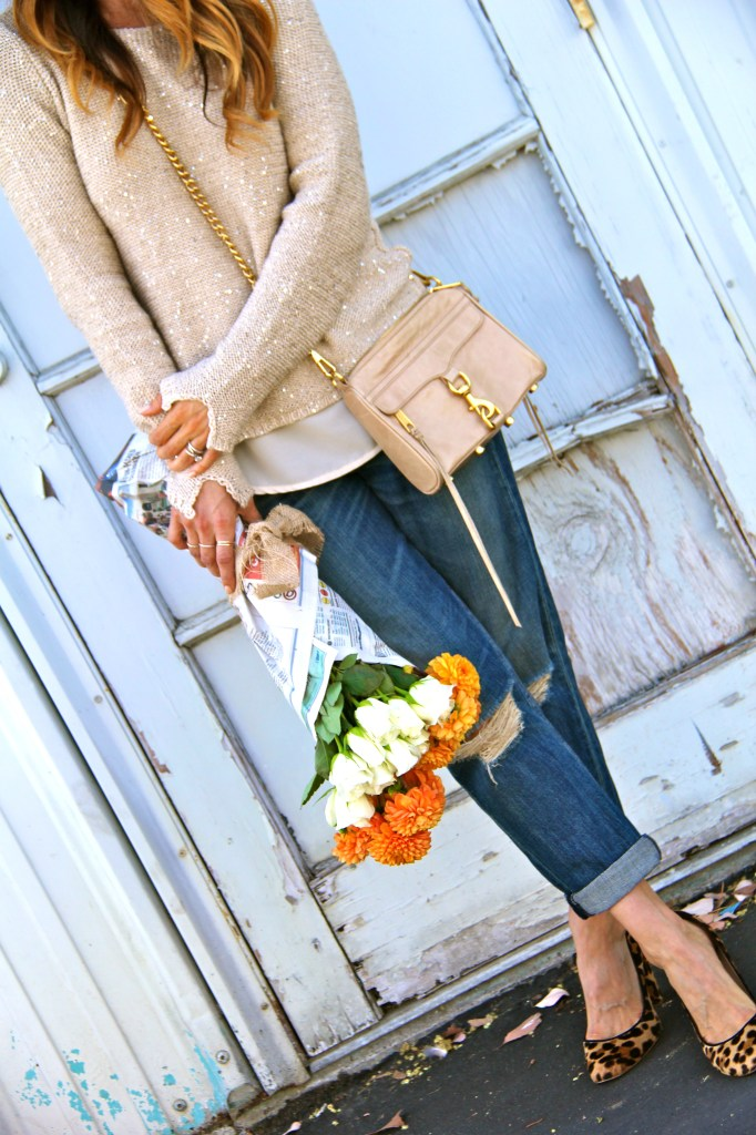 leopard pumps, gold sweater, boyfriend jeans