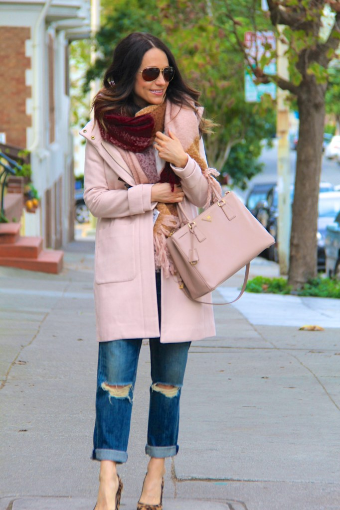 distressed denim, blanket scarf, tan coat