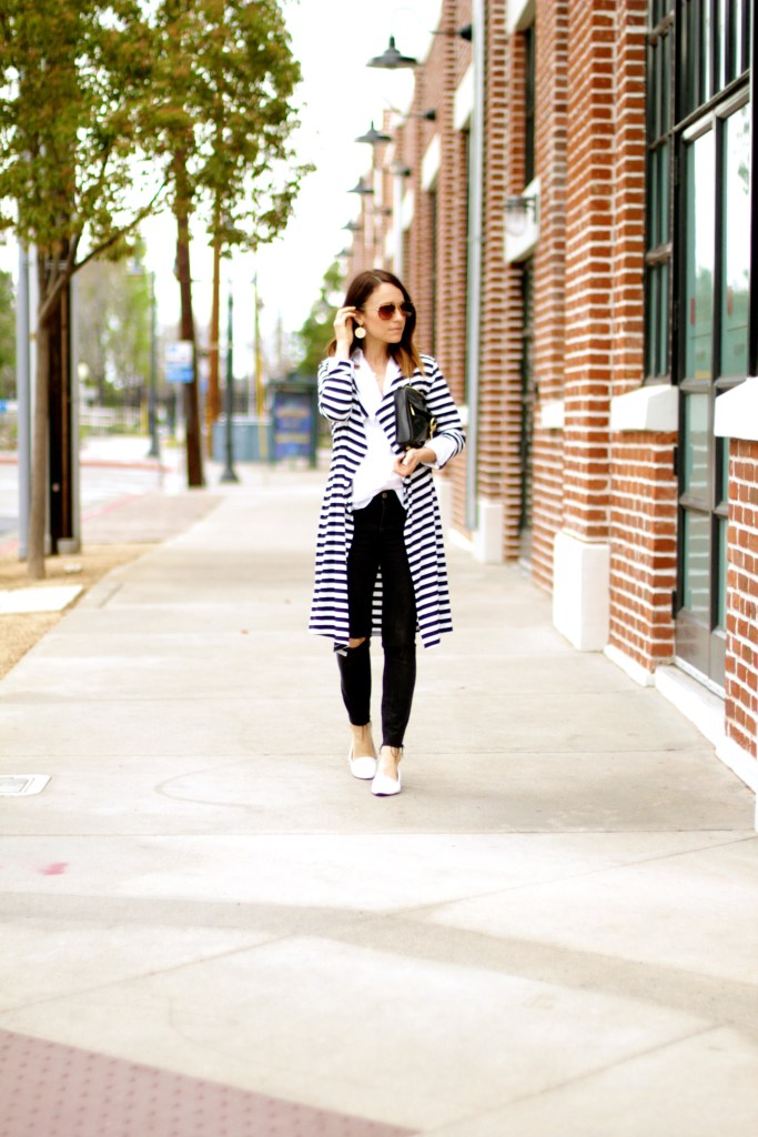 black and white duster sweater, distressed black denim