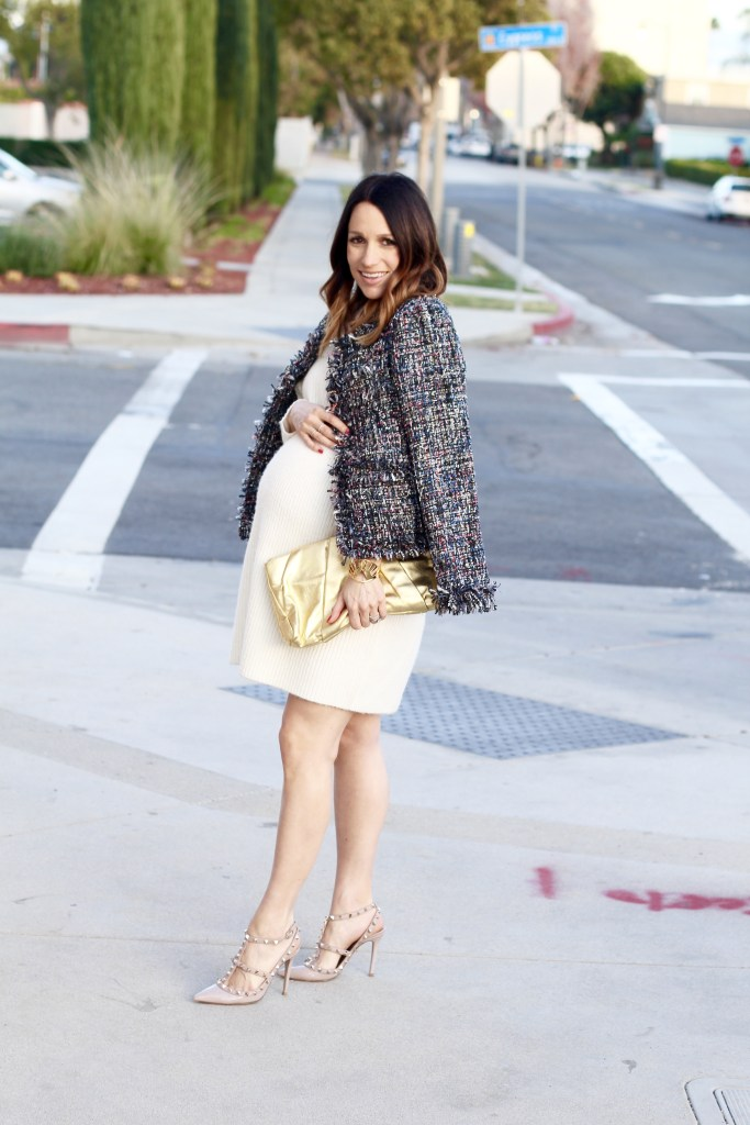 pregnancy style NYE look, winter white, itsy bitsy indulgences