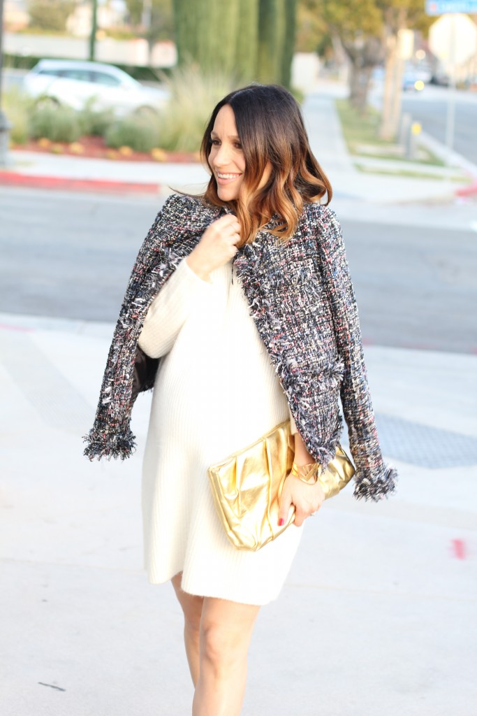 baby bump NYE style, winter white and tweed, itsy bitsy indulgences