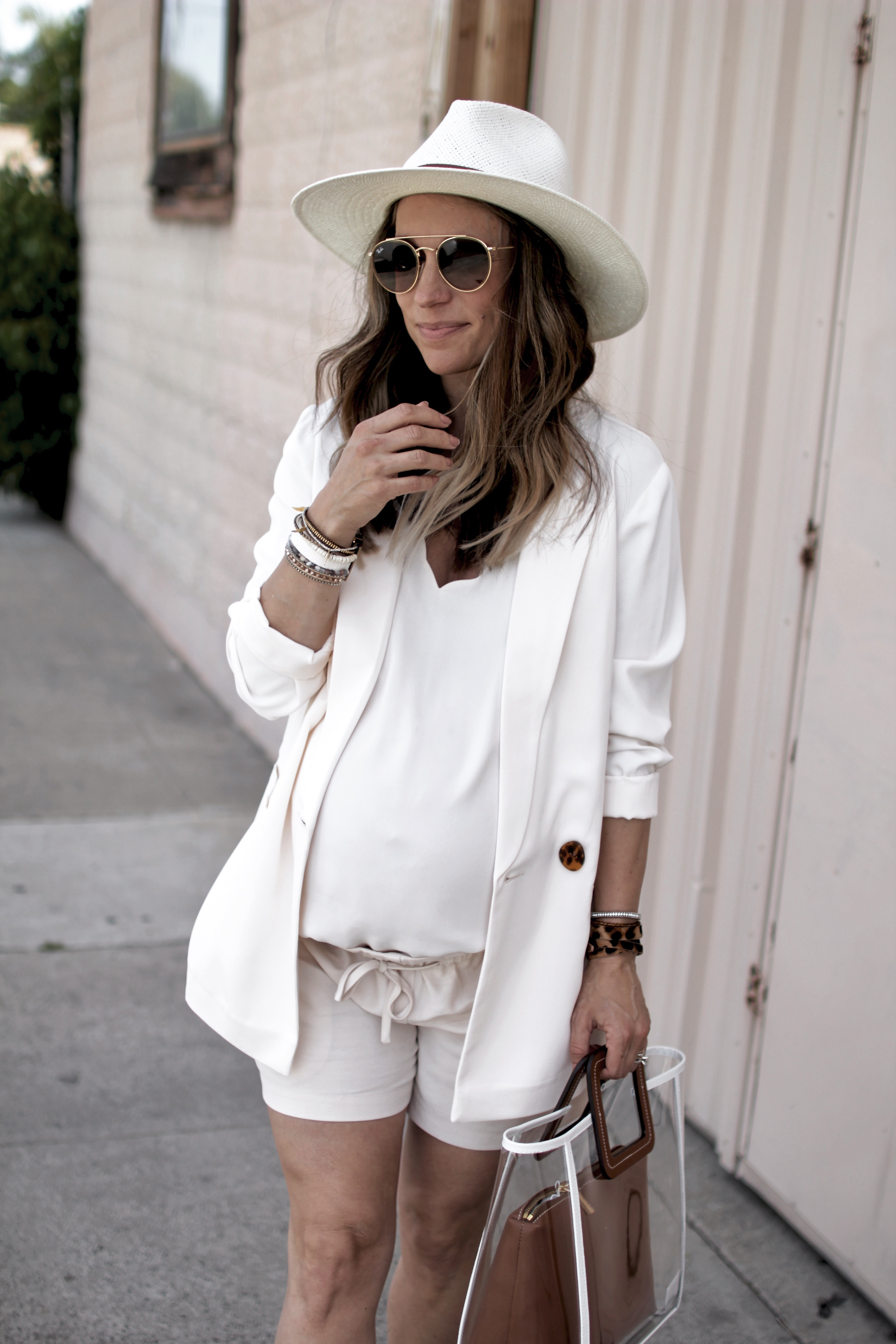 Spring Style All White Shorts Suit