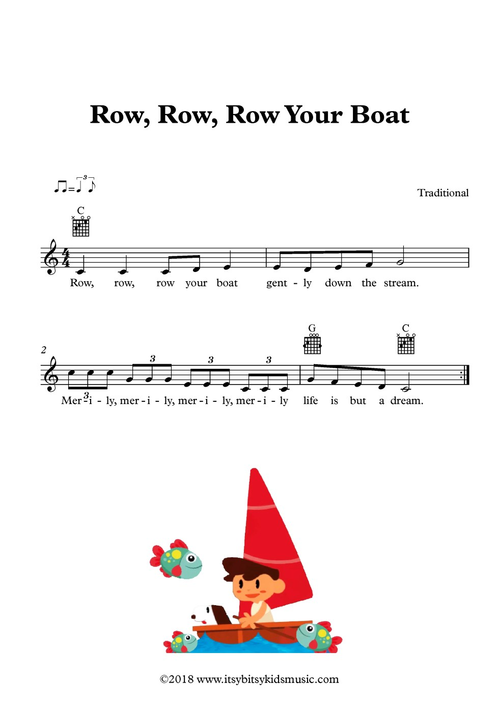 Row Row Row Your Boat Sheet Music With Chords And Lyrics