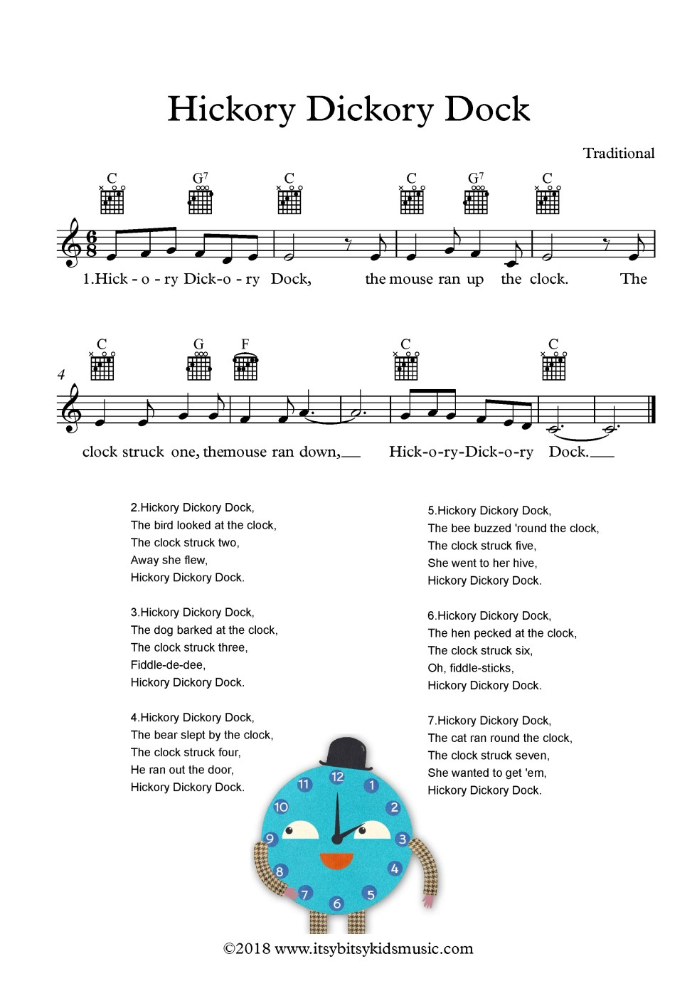 Hickory Dickory Dock Sheet Music With Chords And Lyrics