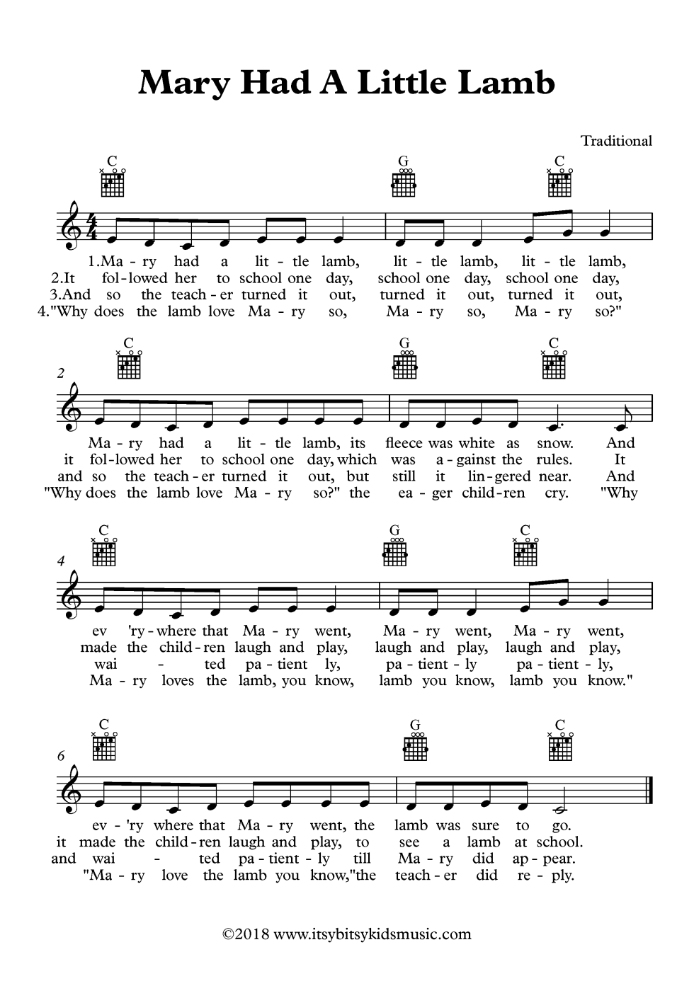 Mary Had A Little Lamb Sheet Music With Chords And Lyrics Itsy