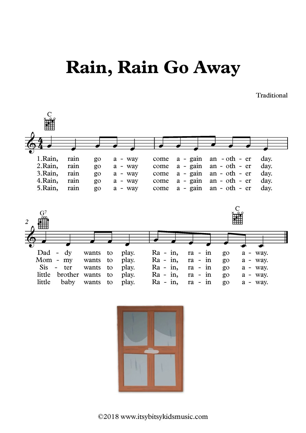 rain rain go away song sheet music with chords and lyrics itsy bitsy kids music. Black Bedroom Furniture Sets. Home Design Ideas
