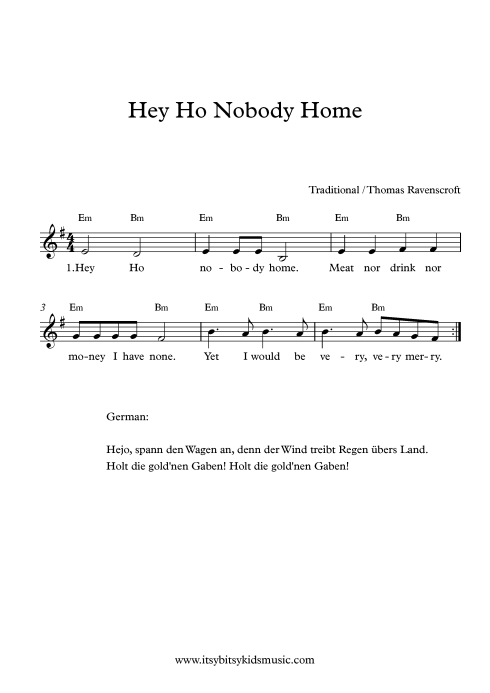 Lead Sheet Hey Ho Nobody Home With Chords For Free Itsy Bitsy Kids