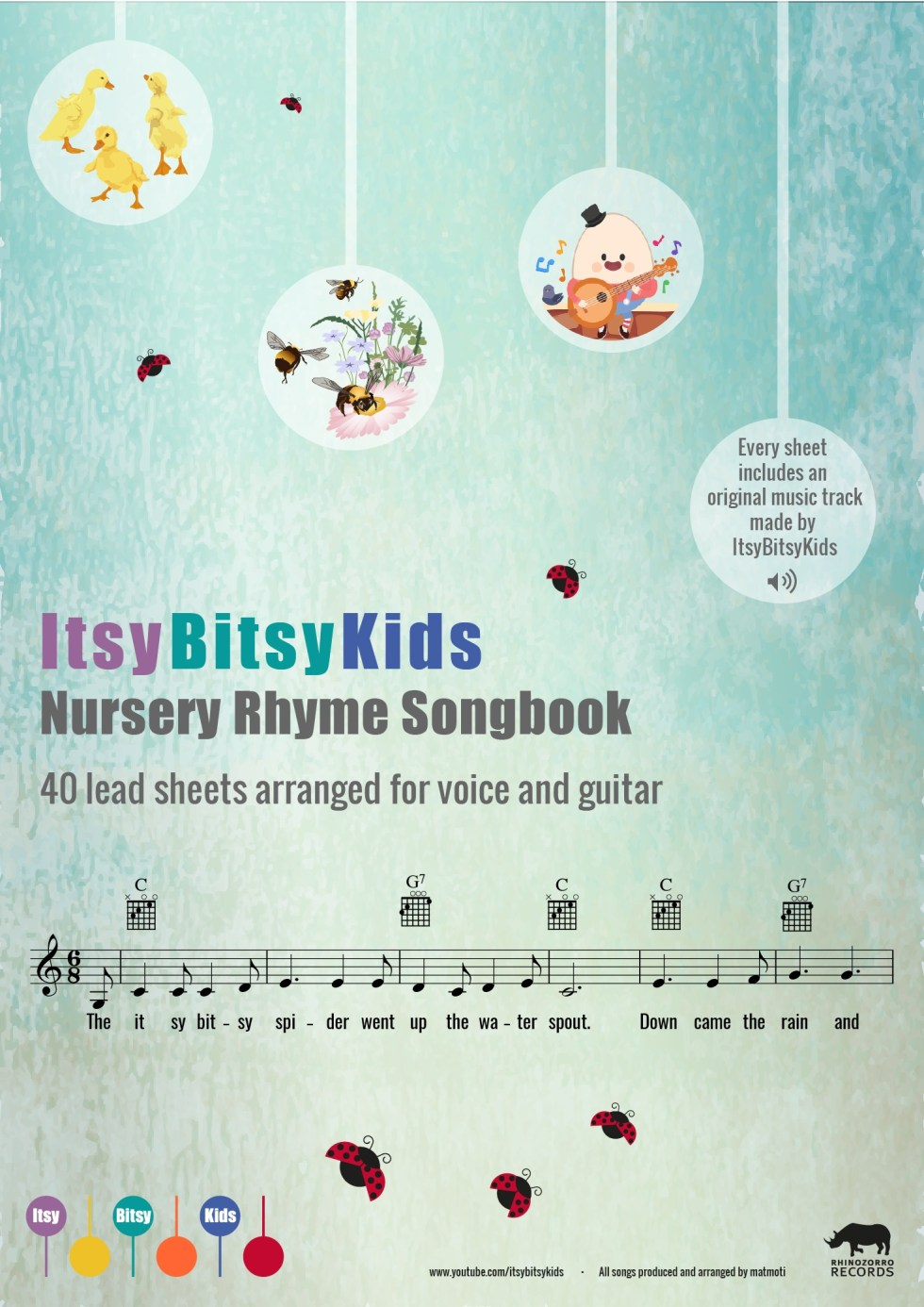 The ItsyBitsyKids Nursery Rhyme Songbook Sheets For Voice and Guitar