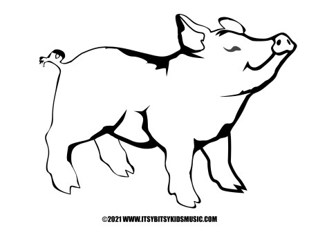 coloring page little piggy in pdf for free