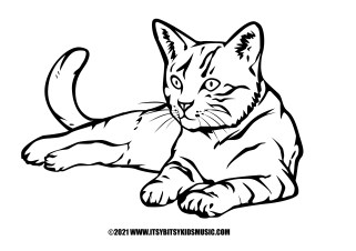 coloring page lying cat in pdf for free