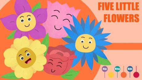 Five Little Flowers Growing In A Row