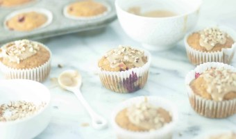 Cranberry-Pumpkin Muffins with Maple Glaze and Pecans