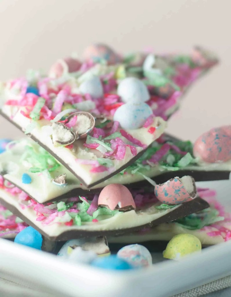 Coconut-Malt Easter Egg Chocolate Bark is an easy, adorable, and totally yummy treat Easter treat!