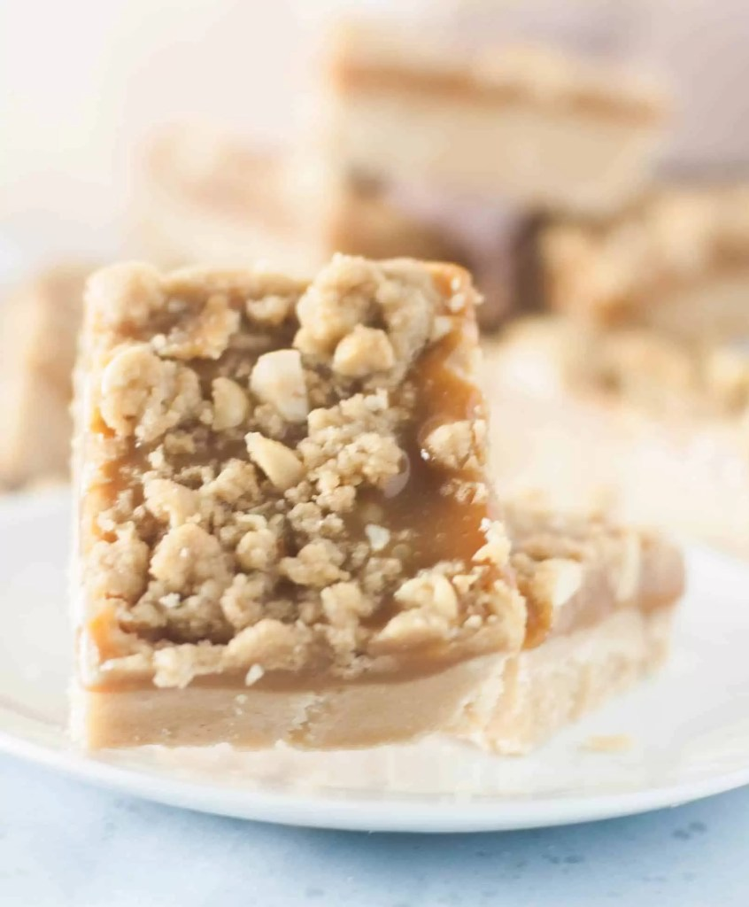 A delicious caramel-stuffed peanut butter bar cookie--it's salty, it's sweet, it's the bar cookie of your dreams!