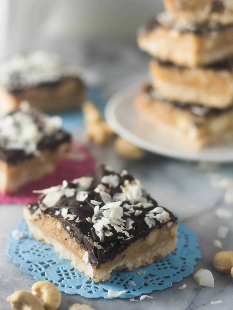 Coconut caramel cashew cookie bars are crunchy, creamy, and completely delicious. You should definitely whip up a batch today!