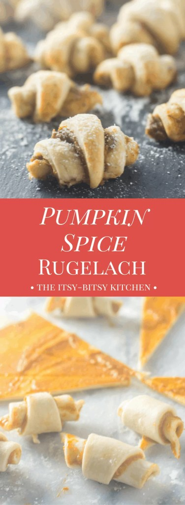 Part cookie, part pastry, all delicious, these pumpkin spice rugelach are the perfect fall dessert or snack!