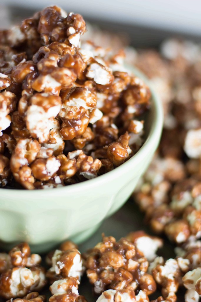 close-up of Nutella caramel corn in a bowl