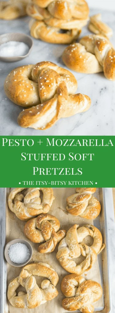 Pesto + mozzarella stuffed soft pretzels are cheesy and soft and make the perfect snack--or dinner if you're anything like me.