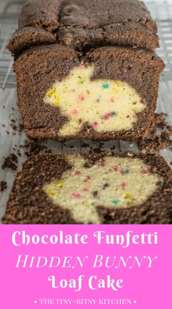 This chocolate funfetti hidden bunny cake (surprise inside cake) is a fun dessert to impress your family this Easter. Recipe and how-to via itsybitsykitchen.com #Easter #cake #Easterdessert