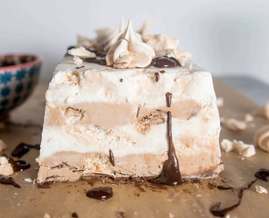 An almost no-bake dessert, this frozen double chocolate mocha meringue terrine is a creamy, crunchy, full-of-flavor frozen dessert just perfect for summer!