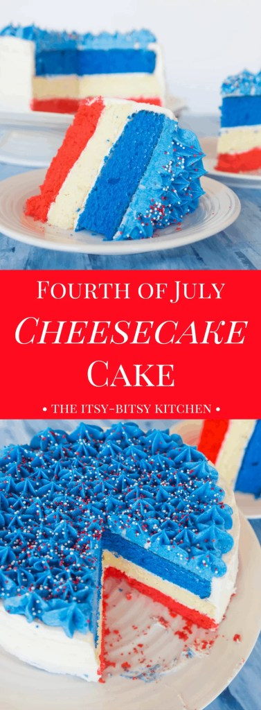 Pinterest image for Fourth of July cheesecake cake with text overlay