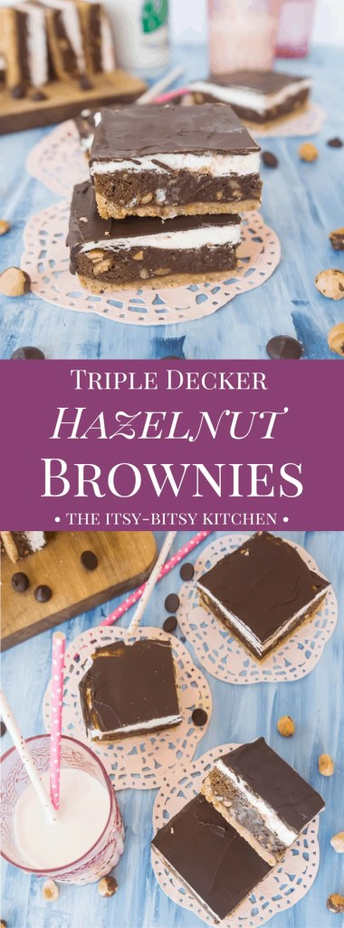 Chock full of nutty flavor, these triple decker hazelnut brownies are sure to please all the chocolate + hazelnut lovers in your life.