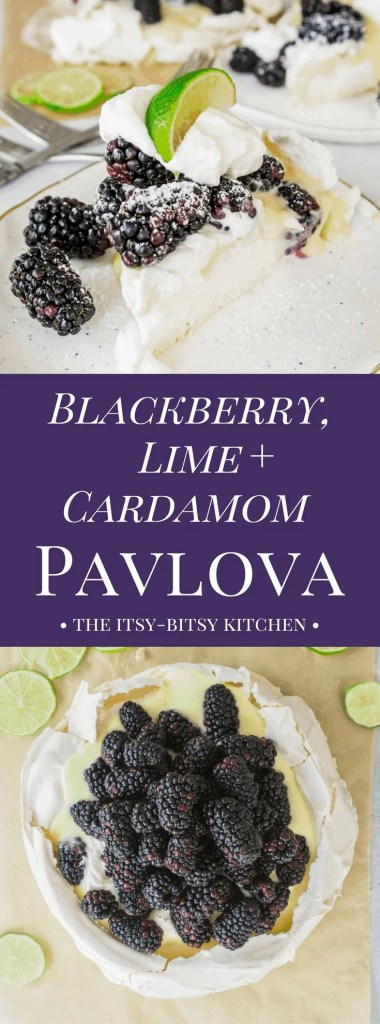 Crispy on the outside and marshmallow-soft on the inside, this blackberry, lime, and cardamom pavlova recipe is summer dessert at its most delicious.