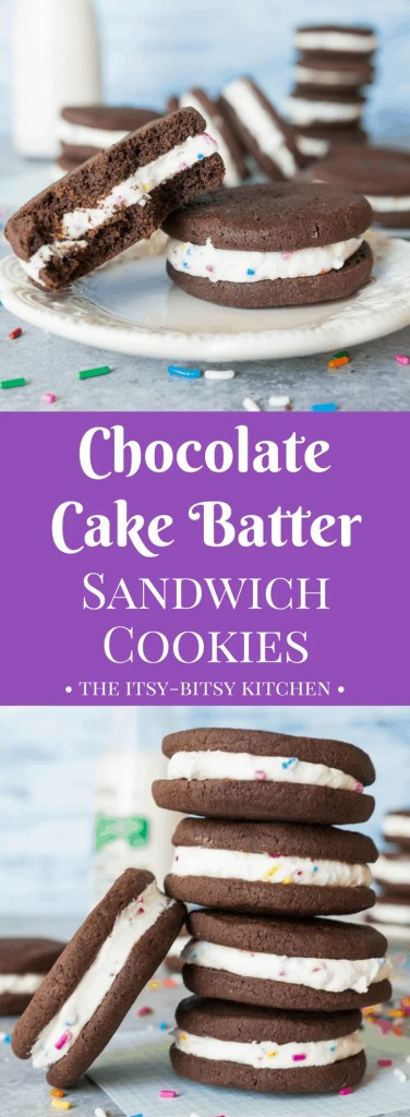 Cake Batter Chocolate Sandwich Cookies - The Itsy-Bitsy ...