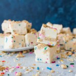 White chocolate funfetti graham cracker fudge is a delicious and easy homemade candy recipe, as easy to make as it is to eat! Perfect for gifts and Christmas cookie trays!