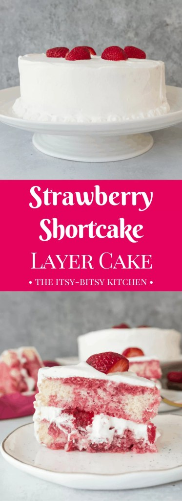 Pinterest image for strawberry shortcake layer cake with text overlay