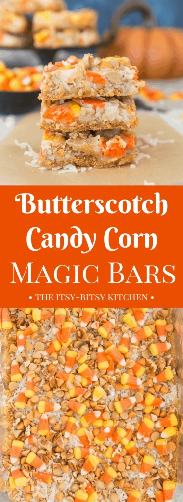 Butterscotch candy corn magic bars are a delicious (EASY) bar cookie to help you celebrate fall! Recipe from itsybitsykitchen.com #Halloween #cookies