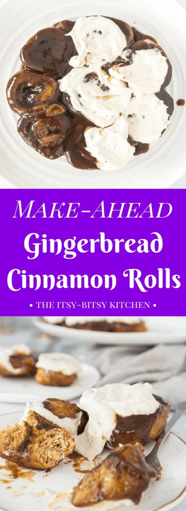 pinterest image for make-ahead gingerbread cinnamon rolls with text overlay